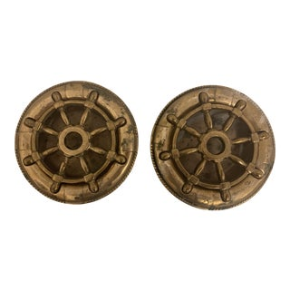 1960s Vintage Nautical Ship Wheel Brass Candle Holders For Sale