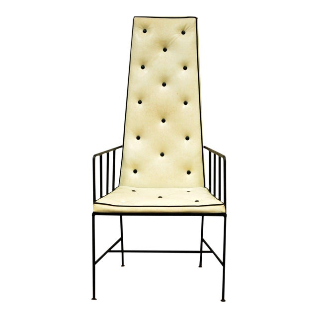 Vintage Mid Century Modern Wrought Iron Arthur Umanoff Paul McCobb Arm Chair For Sale