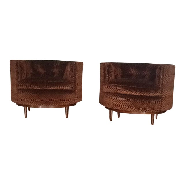 Mid-Century Tufted Club Chairs - A Pair - Image 1 of 7