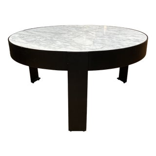 Custom Design Round White Marble + Iron Coffee Table For Sale