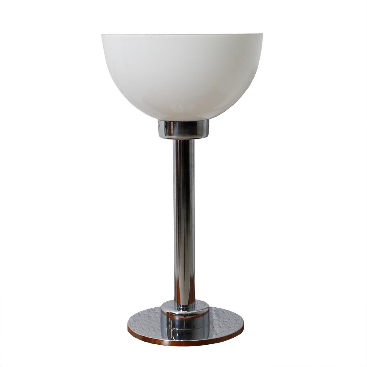 Chrome White Glass Bowl Shaped Shade Table Lamp Chairish