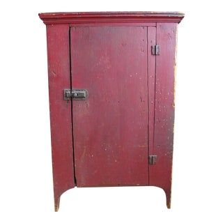 1850 Rustic Red Painted Cupboard With Cutout Ends For Sale