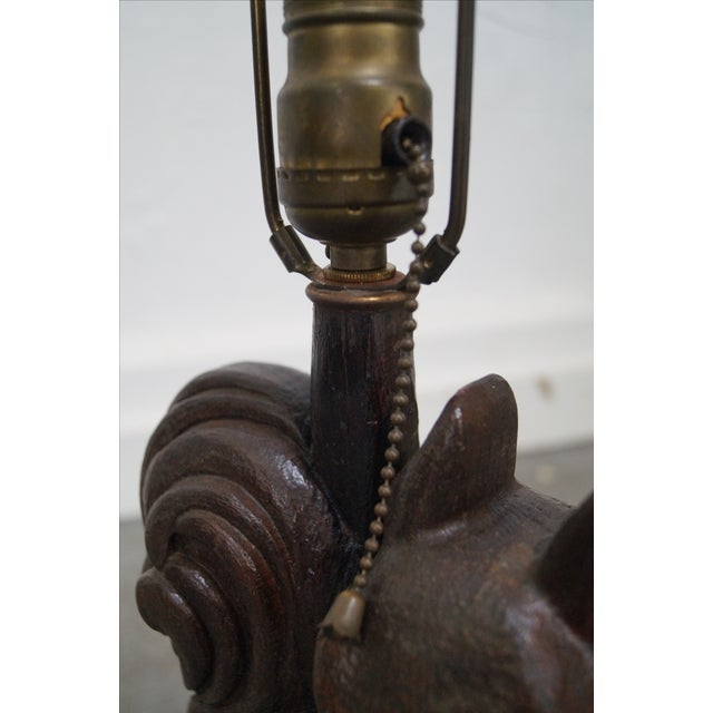 Romweber Rare Oak Carved Squirrel Table Lamp - Image 8 of 10