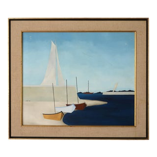 1960s Minimalist Nautical Painting by Estelle Chaves, Framed For Sale