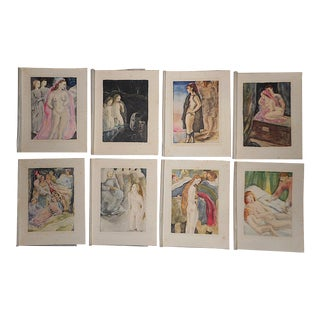Set of 8-Vintage Hand Colored Copperplate Engravings-Nudes-Mariette Lydis-Paris For Sale
