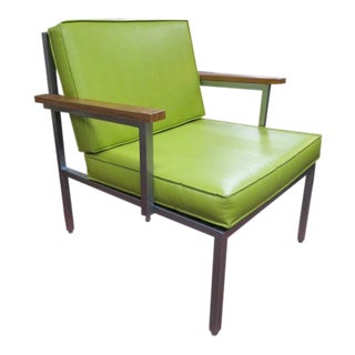 Vintage Mid Century Modern Lounge Chair With Bright Green Cushions For Sale
