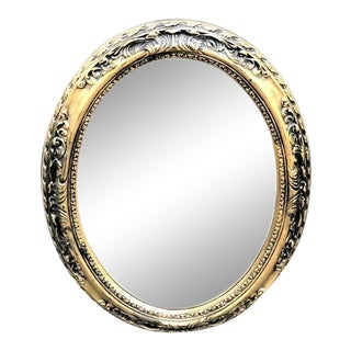 Vintage Gold Oval Wall Mirror For Sale