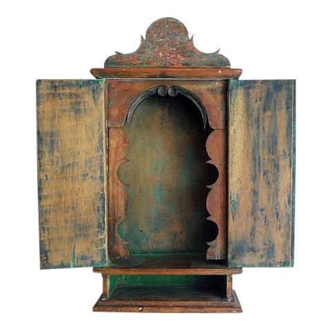 Antique 19th Century Brazilian Baroque Oratory Wood Altar Piece - Image 1 of 7