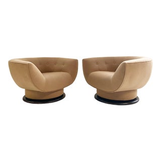 Adrian Pearsall 360° Swivel Chairs in Loro Piana Cashmere-a Pair For Sale