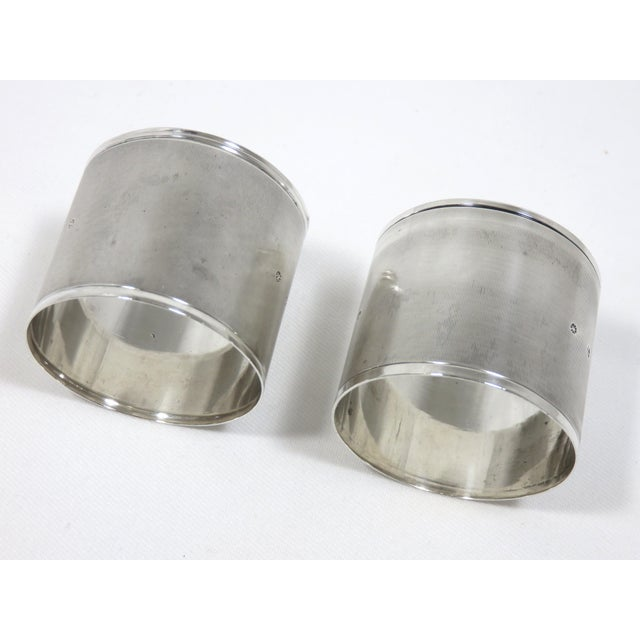 Traditional Large Antique Sterling Silver Napkin Rings - A Pair For Sale - Image 3 of 6