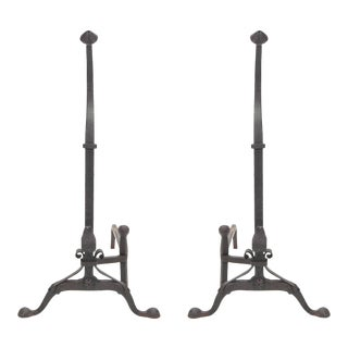 Beautiful Pair of Hand-Forged Andirons For Sale