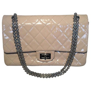 Chanel Beige Distressed Patent 2.55 Reissue 227 Double Flap Classic For Sale