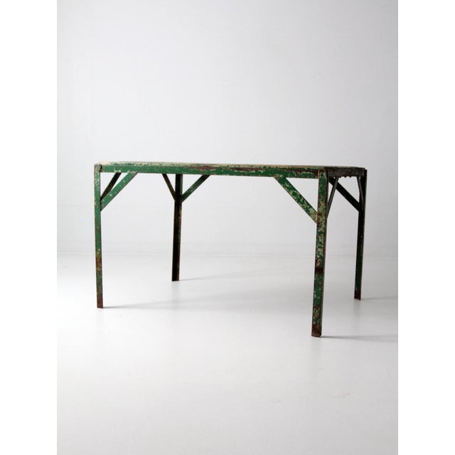 Vintage Wood Top Work Table For Sale - Image 4 of 11
