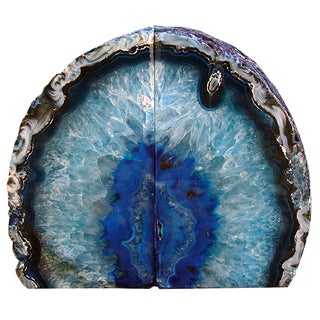 Dramatic Blue Agate Bookends For Sale