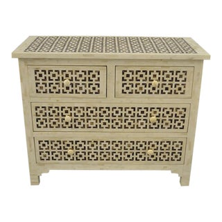Boho Chic Mosaic Inlaid Bone Chest of Drawers For Sale