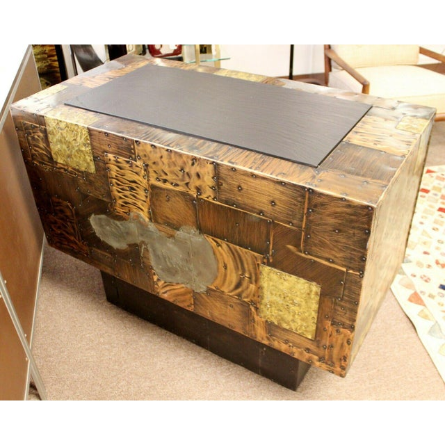 Mid Century Modern Paul Evans Directional Slate Top Copper Patchwork Cabinet 1960s For Sale - Image 9 of 12