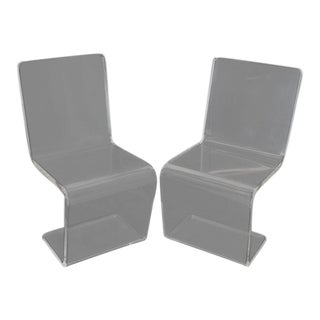 1970s Vintage Thick Heavy Bent Lucite Z Shape Side Chairs- A Pair For Sale