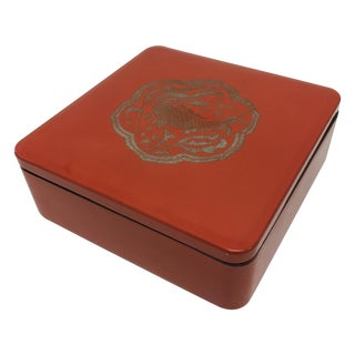 Vintage Orange Red Lacquer Asian Box