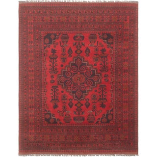 Hand-Knotted Afghan Tribal Rug- 5′ × 6′5″ For Sale