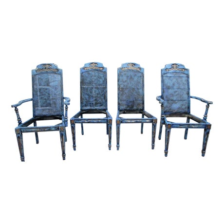 Hand Painted French Provincial Gold Gilt Antique Dining Chairs - Set of 4 - Image 1 of 11