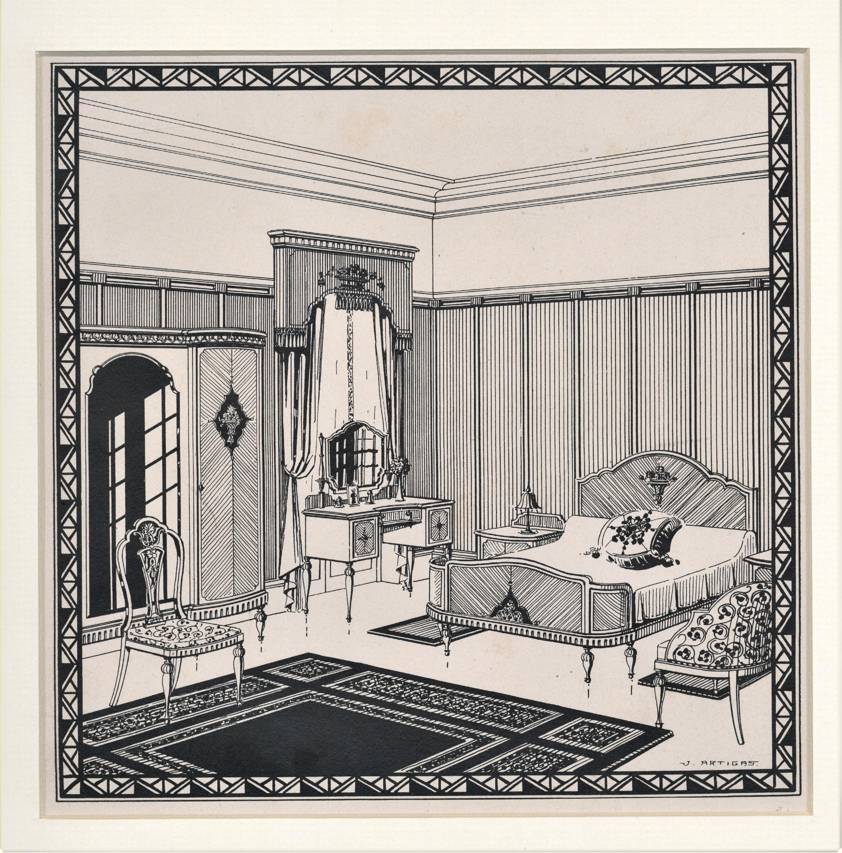 1920 S Matted Art Deco Architectural Interior Design Lithograph