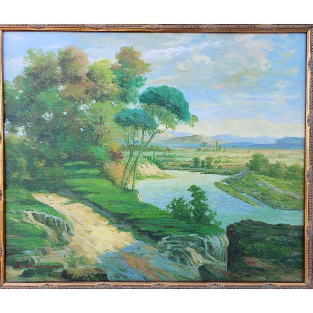Late 20th Century Original Countryside River Landscape Oil Painting For Sale - Image 4 of 12