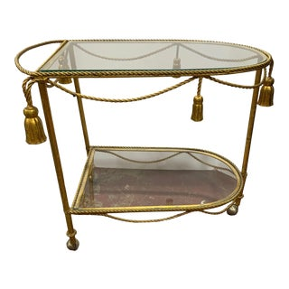 1950s Gilded Metal Rope and Tassel Bar Cart For Sale