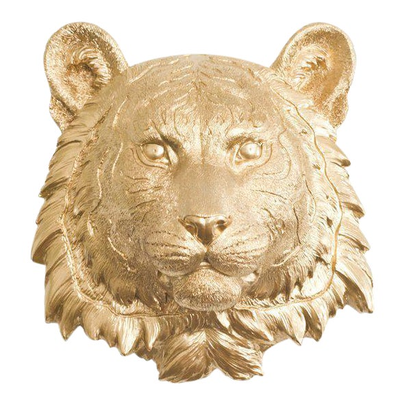 Wall Charmers Gold Faux Taxidermy Mini Tiger Head Wall Sculpture For Sale