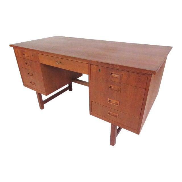 Danish Modern Teak Double Pedestal Desk For Sale