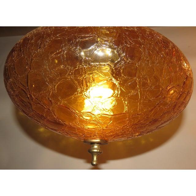 Vintage Italian Art Glass Rewired Retro Boho Gold Crakle Hanging Light For Sale - Image 5 of 9