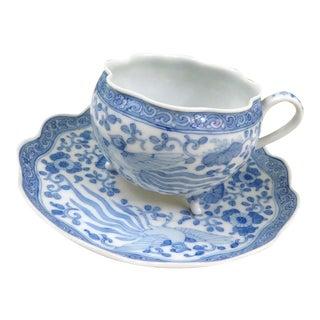 Antique Phoenix Bird Footed Tea Cup & Saucer