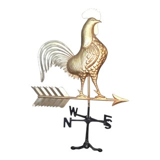 1940s Gilt Tole Rooster Weathervane For Sale