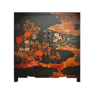 Early 20th Century Antique Japanned Black Cabinet For Sale