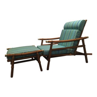 Mid Century Ficks Reed Chair and Ottoman (By John Wisner) For Sale