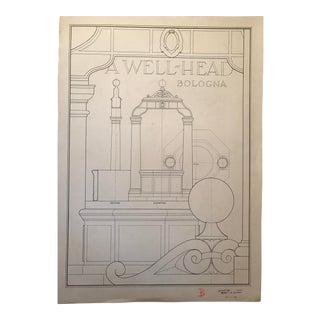 "Ruth Opper 1944 Architectural Drawing ""A Well Head Bologna"" For Sale"