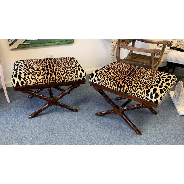 Hollywood Regency 1970s Vintage Palecek Hollywood Regency Velvet Leopard X Benches -A Pair For Sale - Image 3 of 12