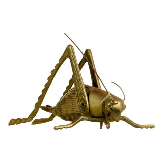 Mid-Century Solid Brass Cricket, Lucky Charm Cricket, Brass Paperweight For Sale