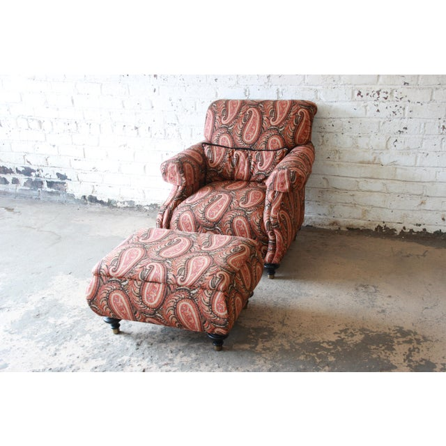 Traditional Kravet Lounge Chair and Ottoman in Paisley Upholstery For Sale - Image 3 of 12
