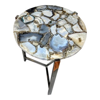 Organic Modern Natural Agate Accent Table For Sale