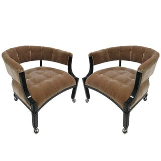 Pair of Hollywood Regency Lacquered Slipper Chairs For Sale