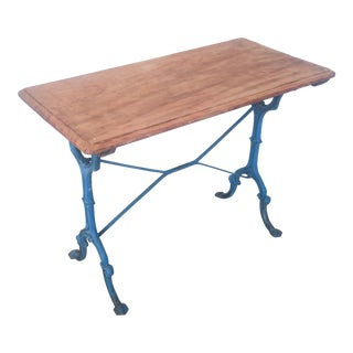 1930s French Blue Bistro Table For Sale