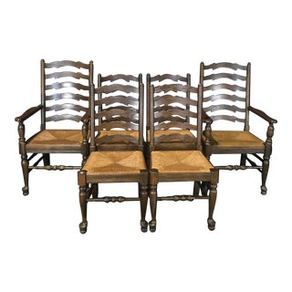 Vintage English Wavy Ladder Back Dining Chairs With Rush Seats-Set of 6 For Sale