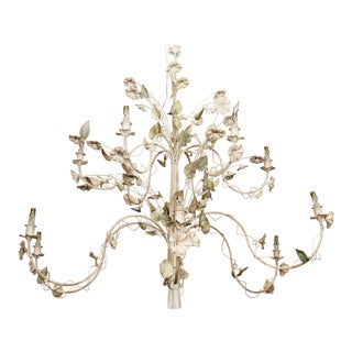 French Painted Tole and Iron Chandelier For Sale