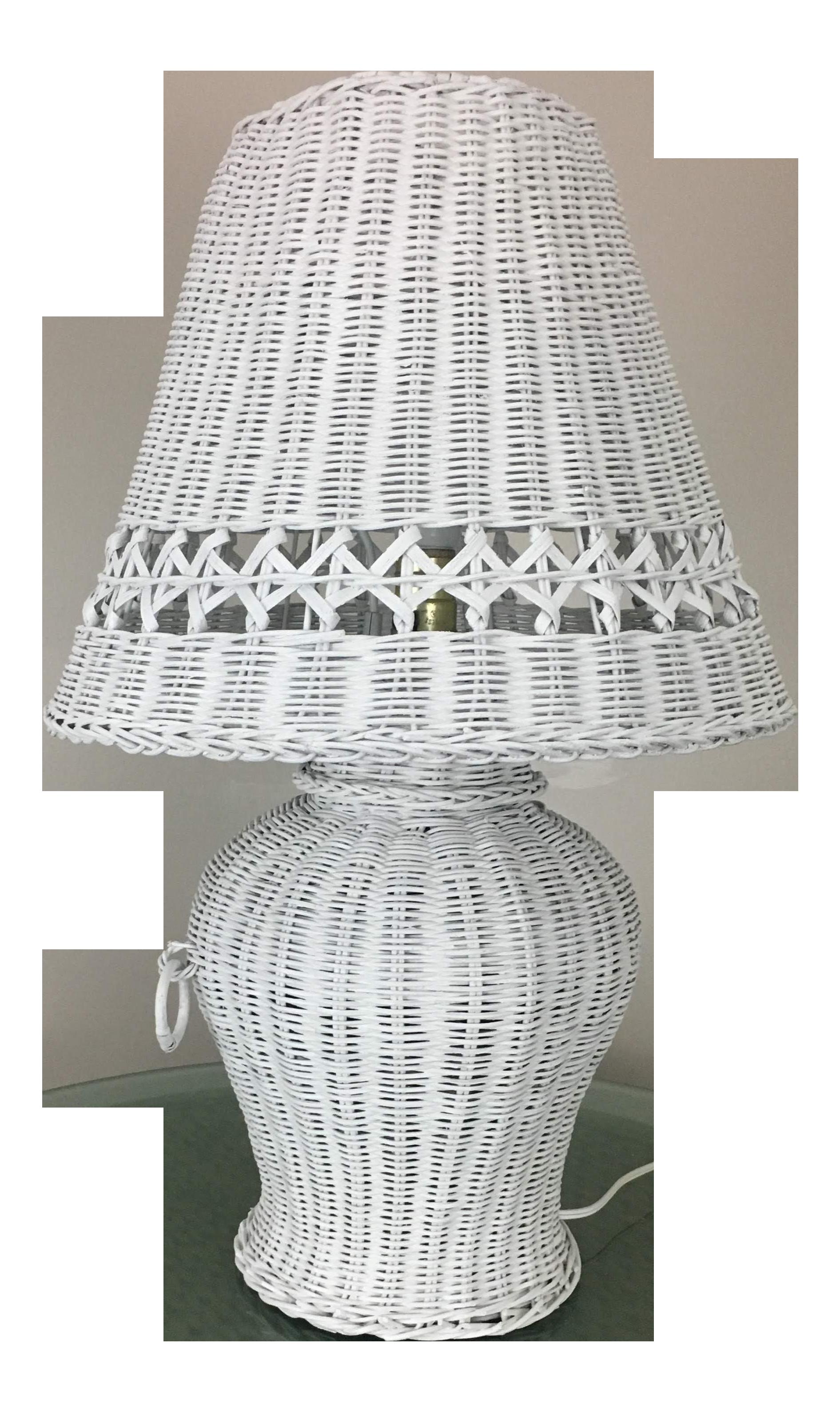 White Wicker Ginger Jar Table Lamp Chairish
