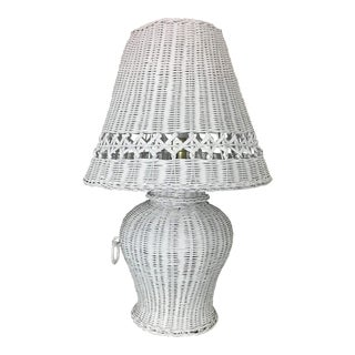 White Wicker Ginger Jar Table Lamp