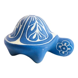 Vintage Blue Pottery Turtle by Pablo Zabal For Sale
