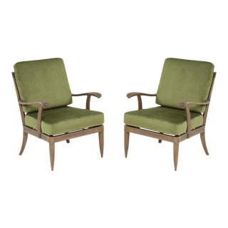 Pair of French Mid-Century Cerused Oak Armchairs/ Lounge Chairs For Sale