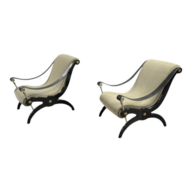 Style of Andre Arbus Pair of Neo Classic Lounge Chairs For Sale
