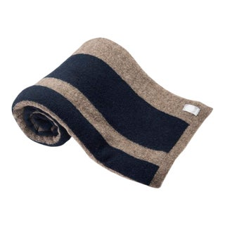 Wool-Yak Wrap in Taupe With Navy Stripe For Sale