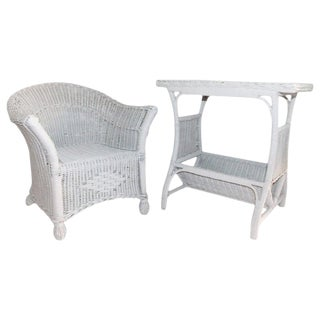 Pair of Bar Harbor Wicker Child's Chair and Side Table For Sale